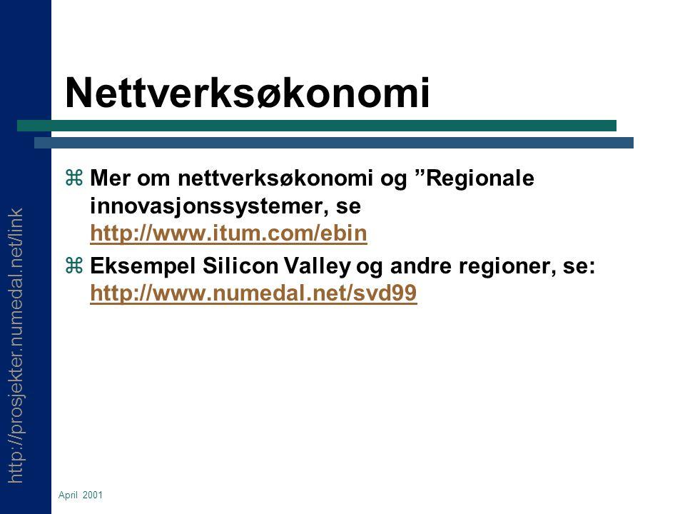 http://prosjekter.numedal.net/link April 2001 Nettverksøkonomi  Mer om nettverksøkonomi og Regionale innovasjonssystemer, se http://www.itum.com/ebin http://www.itum.com/ebin  Eksempel Silicon Valley og andre regioner, se: http://www.numedal.net/svd99 http://www.numedal.net/svd99