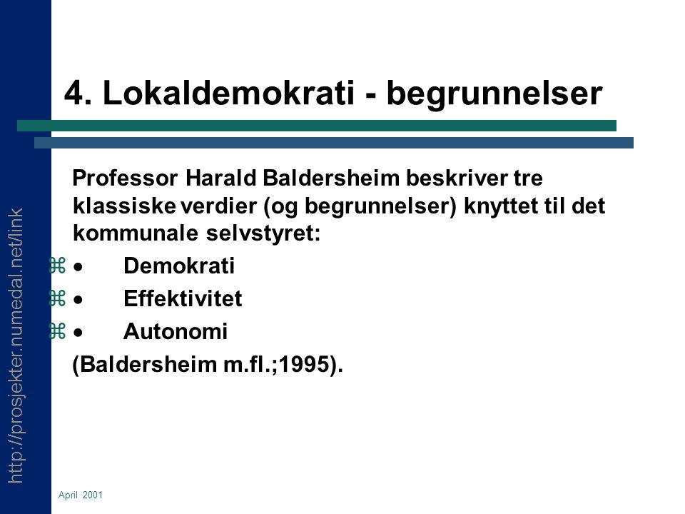 http://prosjekter.numedal.net/link April 2001 4. Lokaldemokrati - begrunnelser Professor Harald Baldersheim beskriver tre klassiske verdier (og begrun