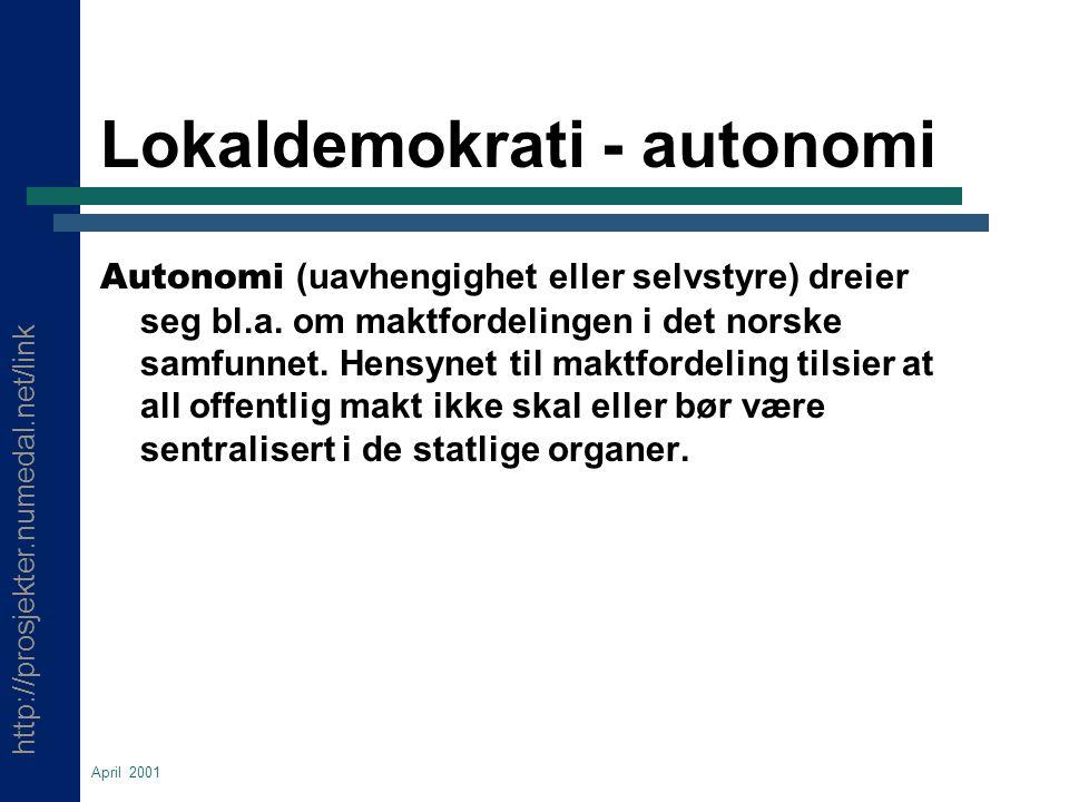 http://prosjekter.numedal.net/link April 2001 Lokaldemokrati - autonomi Autonomi (uavhengighet eller selvstyre) dreier seg bl.a.