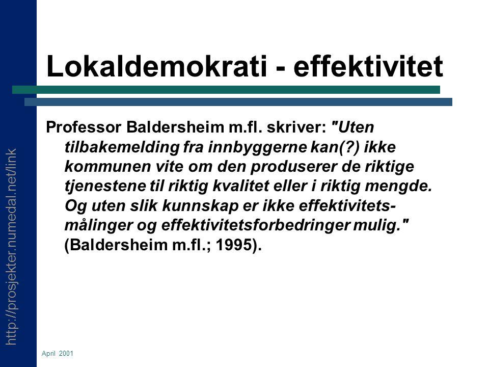 http://prosjekter.numedal.net/link April 2001 Lokaldemokrati - effektivitet Professor Baldersheim m.fl.