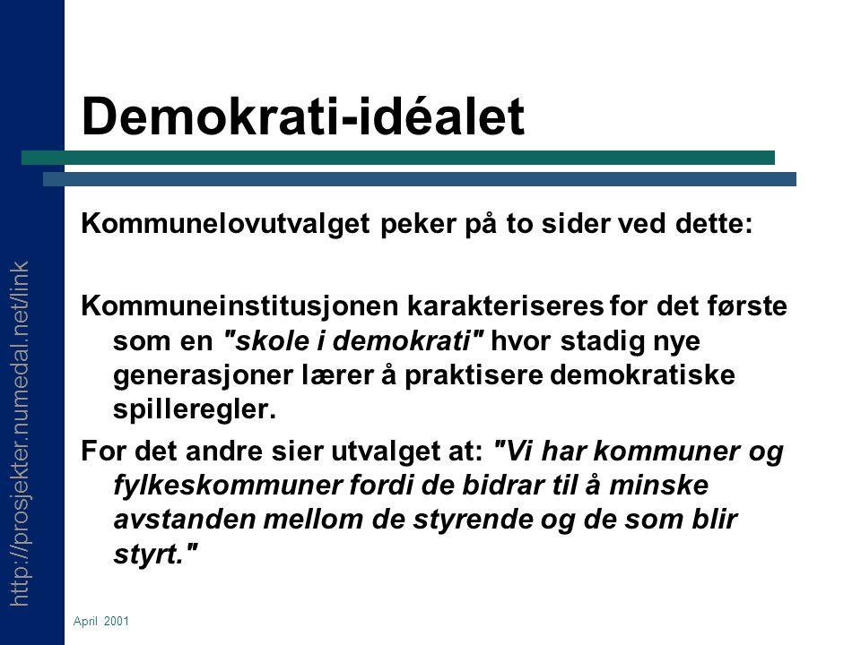 http://prosjekter.numedal.net/link April 2001 Demokrati-idéalet Kommunelovutvalget peker på to sider ved dette: Kommuneinstitusjonen karakteriseres for det første som en skole i demokrati hvor stadig nye generasjoner lærer å praktisere demokratiske spilleregler.