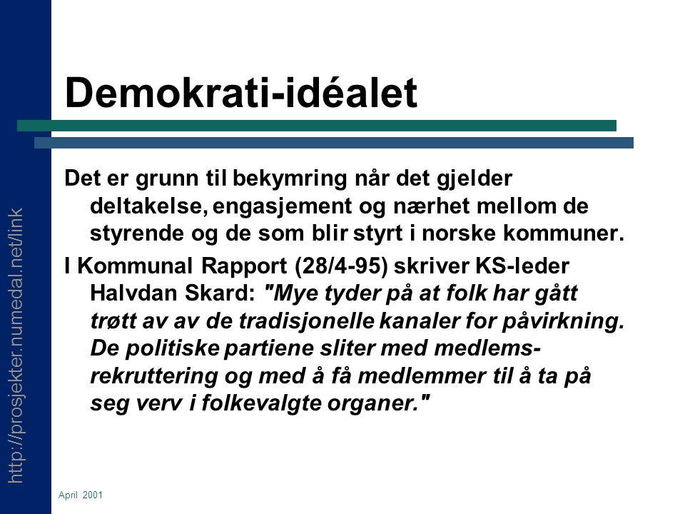 http://prosjekter.numedal.net/link April 2001 Demokrati-idéalet Det er grunn til bekymring når det gjelder deltakelse, engasjement og nærhet mellom de styrende og de som blir styrt i norske kommuner.