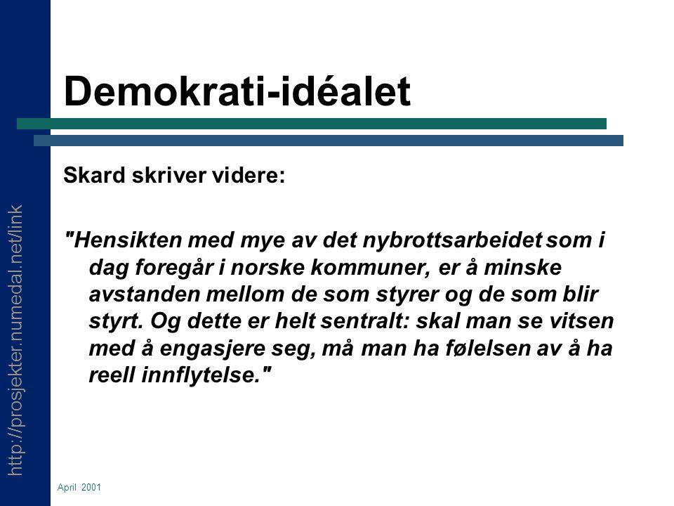 http://prosjekter.numedal.net/link April 2001 Demokrati-idéalet Skard skriver videre: Hensikten med mye av det nybrottsarbeidet som i dag foregår i norske kommuner, er å minske avstanden mellom de som styrer og de som blir styrt.
