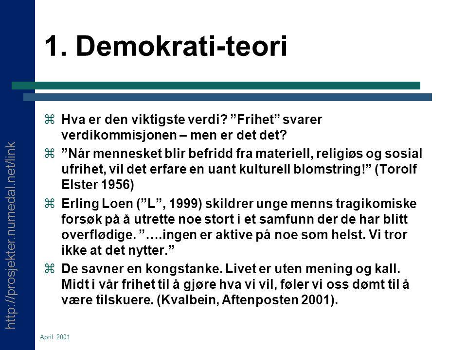 http://prosjekter.numedal.net/link April 2001 1. Demokrati-teori  Hva er den viktigste verdi.