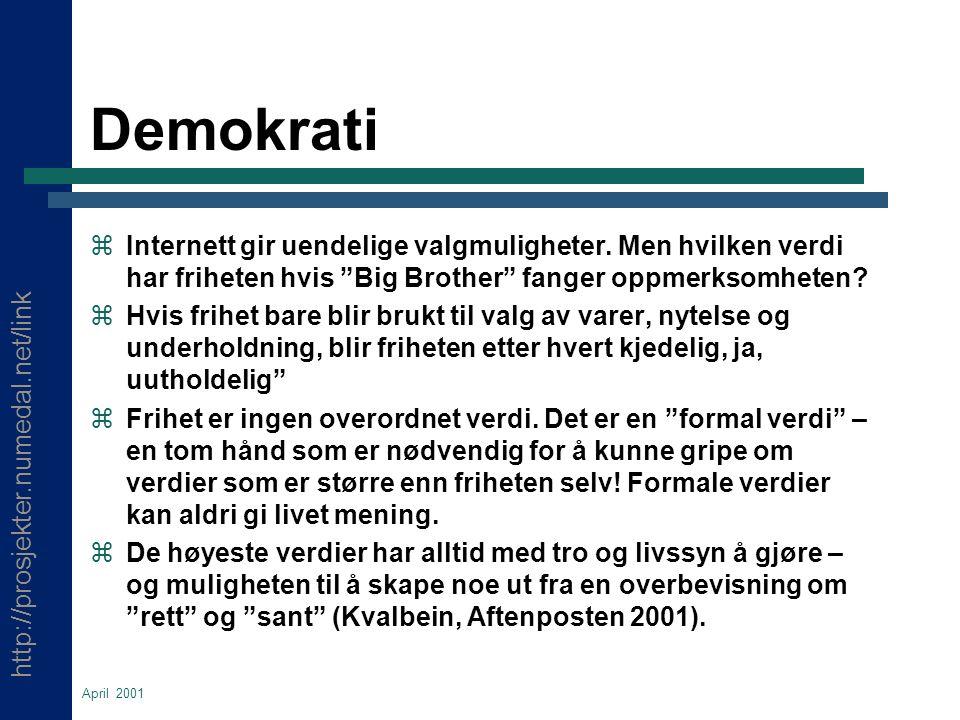 http://prosjekter.numedal.net/link April 2001 Demokrati  Internett gir uendelige valgmuligheter.