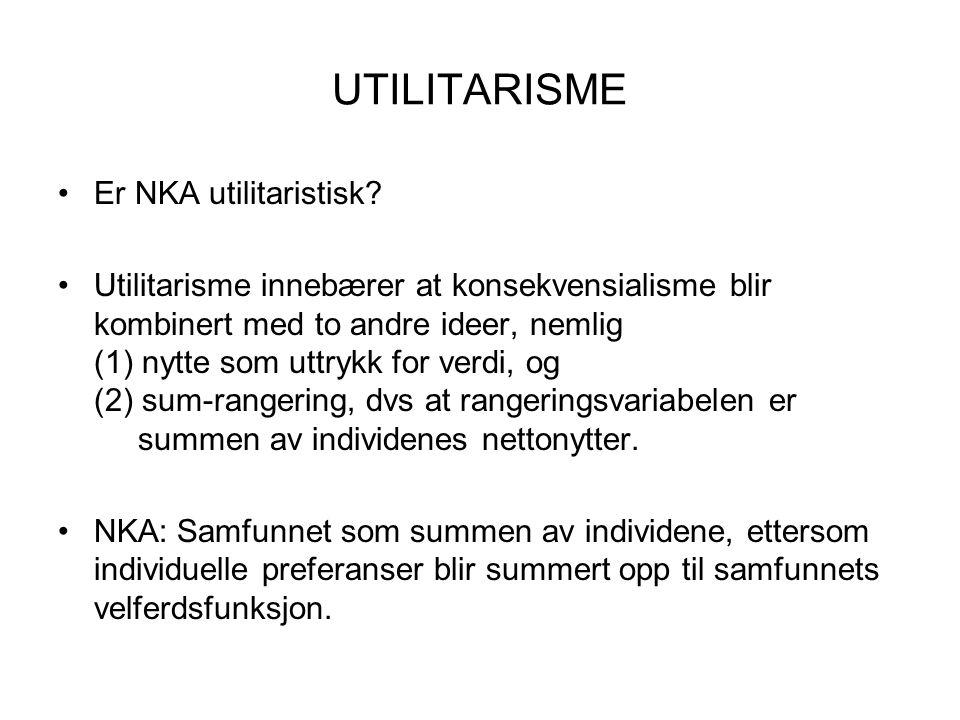 UTILITARISME Er NKA utilitaristisk.