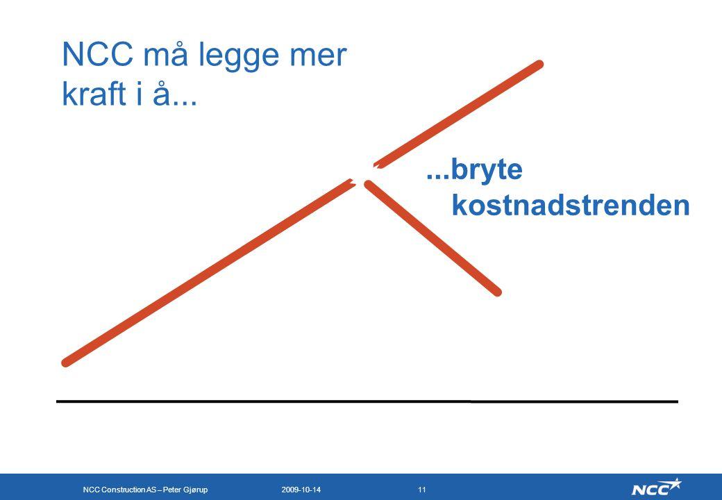 NCC Construction AS – Peter Gjørup 2009-10-1411 NCC må legge mer kraft i å......bryte kostnadstrenden