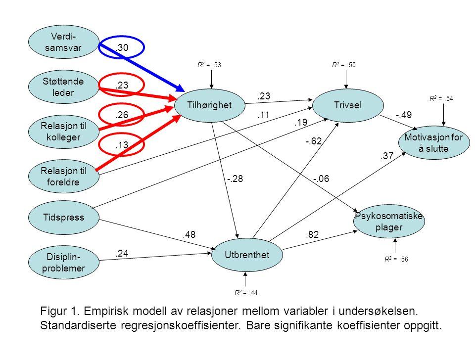 Verdi- samsvar Støttende leder Relasjon til kolleger Relasjon til foreldre Tidspress Disiplin- problemer Tilhørighet Utbrenthet Trivsel Psykosomatiske plager.23.13.26.30.48.24 -.28.23.11 -.62.82 R 2 =.53R 2 =.50 R 2 =.44 R 2 =.56 -.06 Motivasjon for å slutte Figur 1.