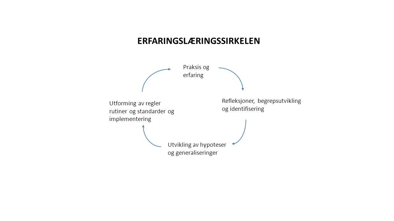 Refleksjoner, begrepsutvikling og identifisering Praksis og erfaring Utvikling av hypoteser og generaliseringer Utforming av regler rutiner og standarder og implementering ERFARINGSLÆRINGSSIRKELEN