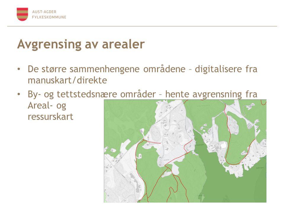 Avgrensing av arealer De større sammenhengene områdene – digitalisere fra manuskart/direkte By- og tettstedsnære områder – hente avgrensning fra Areal- og ressurskart