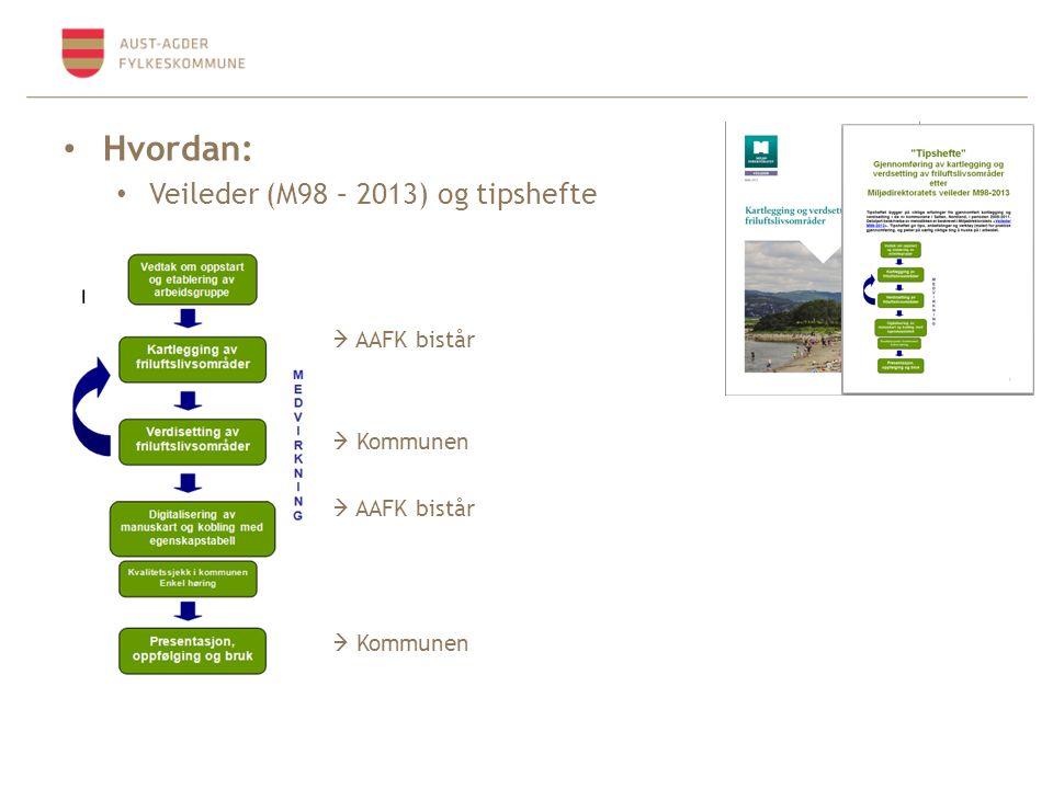 Hvordan: Veileder (M98 – 2013) og tipshefte  AAFK bistår  Kommunen  AAFK bistår  Kommunen