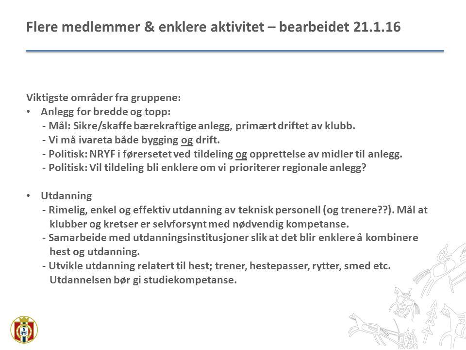 Flere medlemmer & enklere aktivitet – bearbeidet 21.1.16 Viktigste områder fra gruppene: Anlegg for bredde og topp: - Mål: Sikre/skaffe bærekraftige anlegg, primært driftet av klubb.