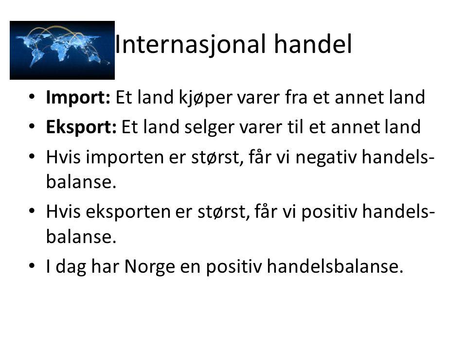 Internasjonal handel Import: Et land kjøper varer fra et annet land Eksport: Et land selger varer til et annet land Hvis importen er størst, får vi ne