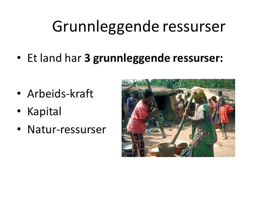 Grunnleggende ressurser Et land har 3 grunnleggende ressurser: Arbeids-kraft Kapital Natur-ressurser