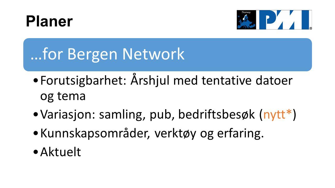 Planer …for Bergen Network Forutsigbarhet: Årshjul med tentative datoer og tema Variasjon: samling, pub, bedriftsbesøk (nytt*) Kunnskapsområder, verktøy og erfaring.
