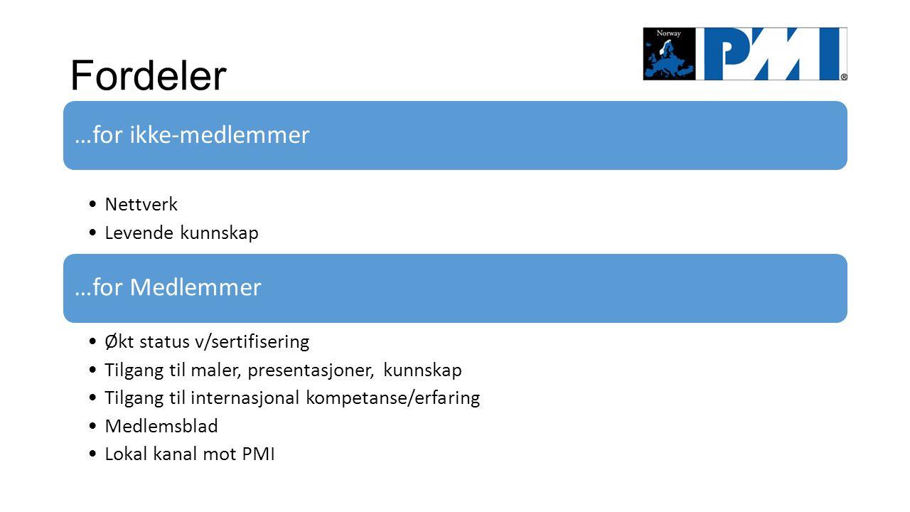 Fordeler …for Medlemmer Økt status v/sertifisering Tilgang til maler, presentasjoner, kunnskap Tilgang til internasjonal kompetanse/erfaring Medlemsblad Lokal kanal mot PMI …for ikke-medlemmer Nettverk Levende kunnskap
