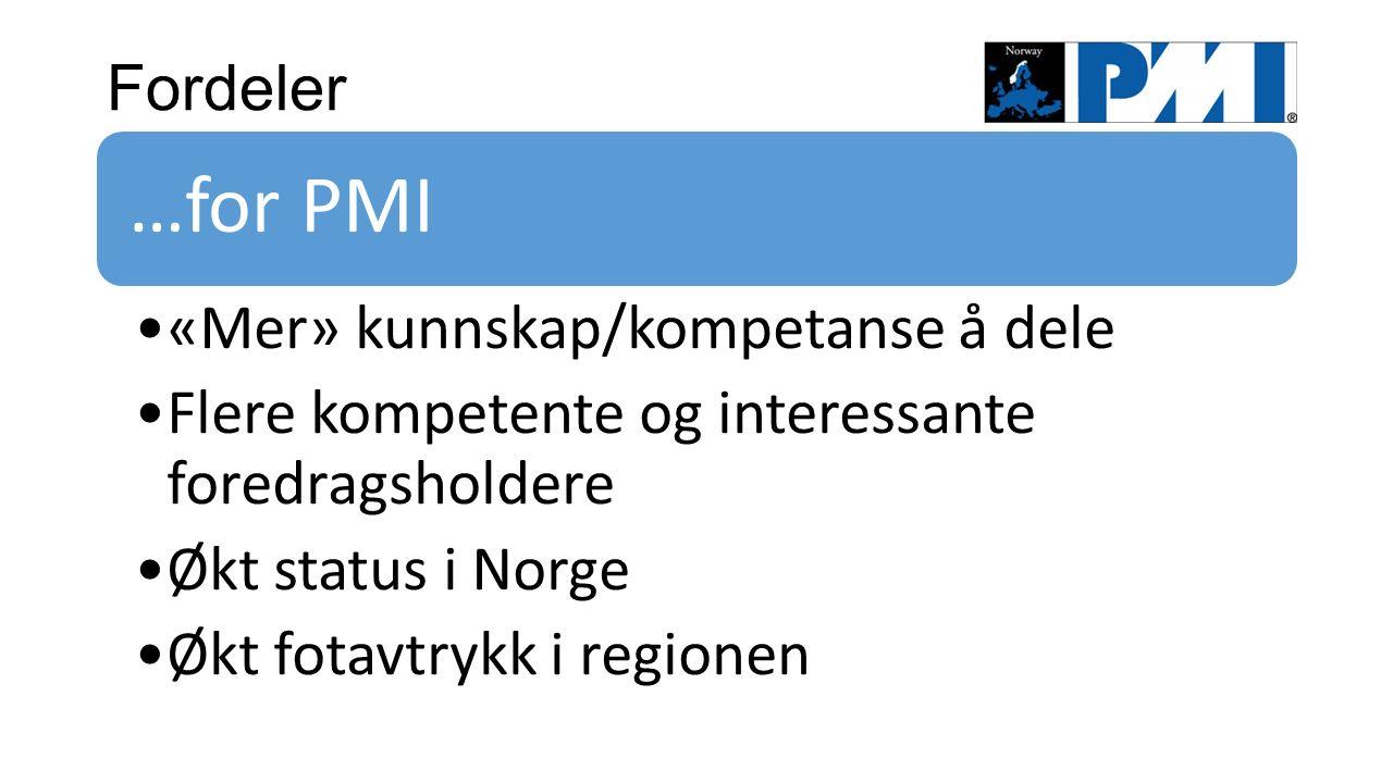 Fordeler …for PMI «Mer» kunnskap/kompetanse å dele Flere kompetente og interessante foredragsholdere Økt status i Norge Økt fotavtrykk i regionen