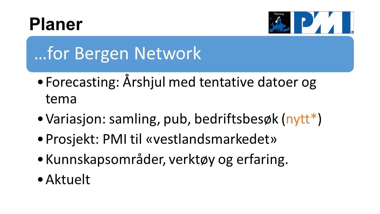 Planer …for Bergen Network Forecasting: Årshjul med tentative datoer og tema Variasjon: samling, pub, bedriftsbesøk (nytt*) Prosjekt: PMI til «vestlandsmarkedet» Kunnskapsområder, verktøy og erfaring.