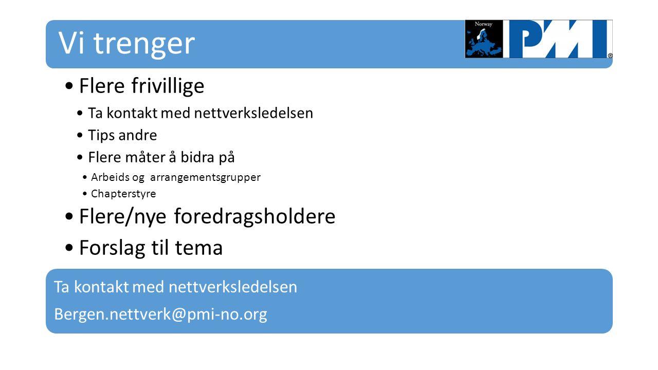 Vi trenger Flere frivillige Ta kontakt med nettverksledelsen Tips andre Flere måter å bidra på Arbeids og arrangementsgrupper Chapterstyre Flere/nye foredragsholdere Forslag til tema Ta kontakt med nettverksledelsen Bergen.nettverk@pmi-no.org