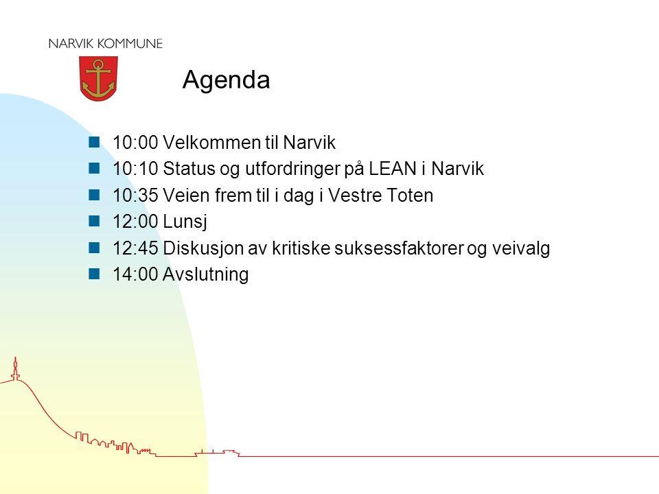 Agenda n10:00 Velkommen til Narvik n10:10 Status og utfordringer på LEAN i Narvik n10:35 Veien frem til i dag i Vestre Toten n12:00 Lunsj n12:45 Diskusjon av kritiske suksessfaktorer og veivalg n14:00 Avslutning