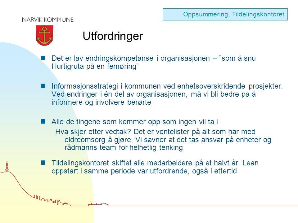 Utfordringer nDet er lav endringskompetanse i organisasjonen – som å snu Hurtigruta på en femøring nInformasjonsstrategi i kommunen ved enhetsoverskridende prosjekter.