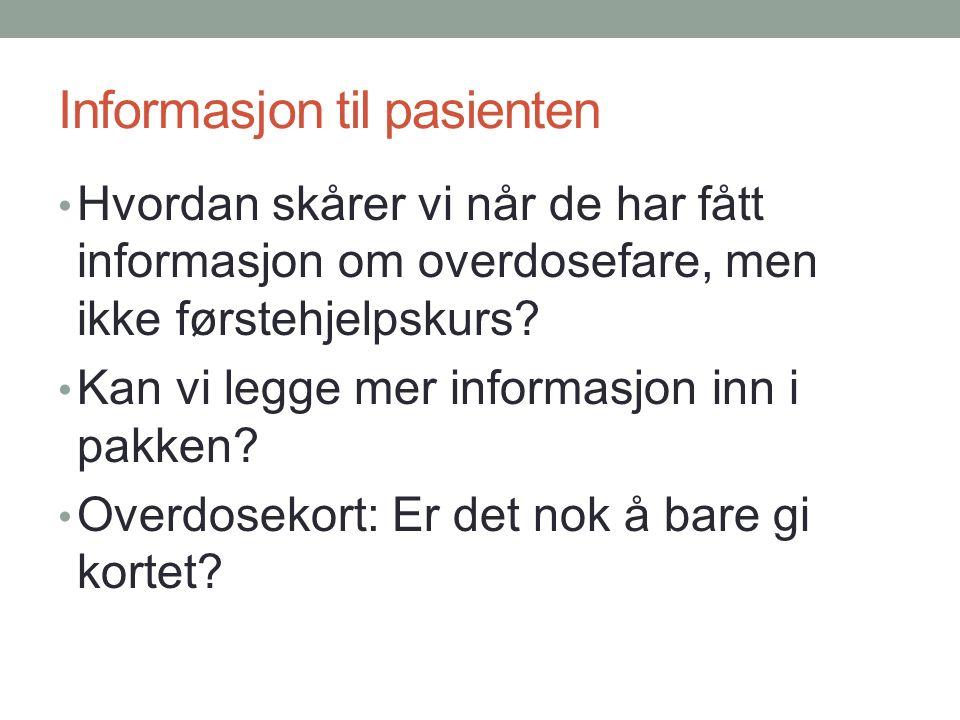 Informasjon til pasienten Hvordan skårer vi når de har fått informasjon om overdosefare, men ikke førstehjelpskurs.