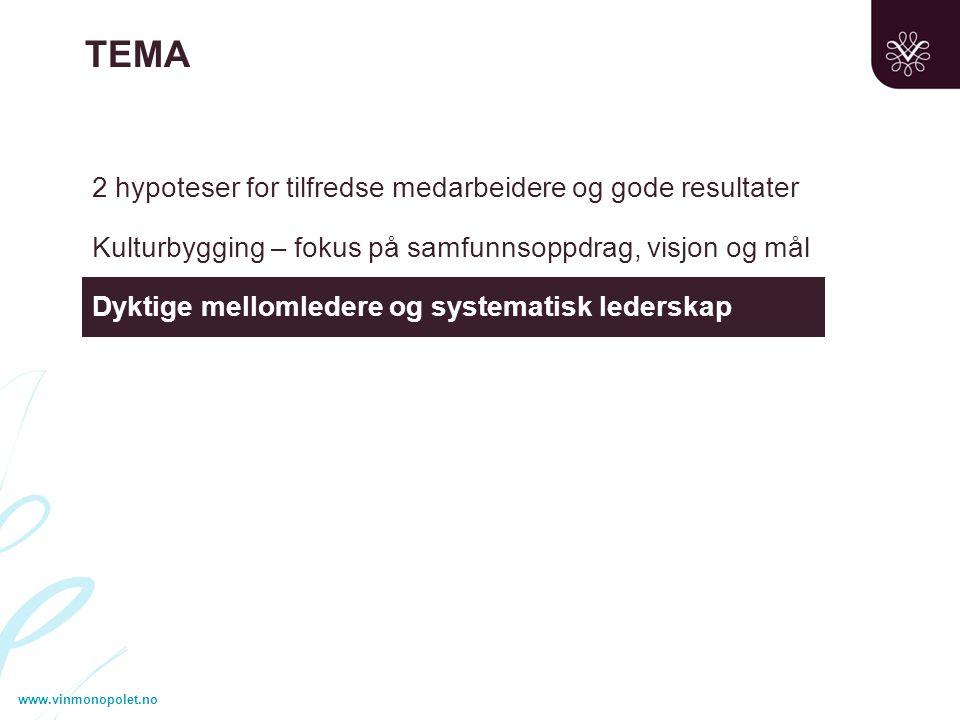 2 hypoteser for tilfredse medarbeidere og gode resultater Kulturbygging – fokus på samfunnsoppdrag, visjon og mål Dyktige mellomledere og systematisk lederskap TEMA