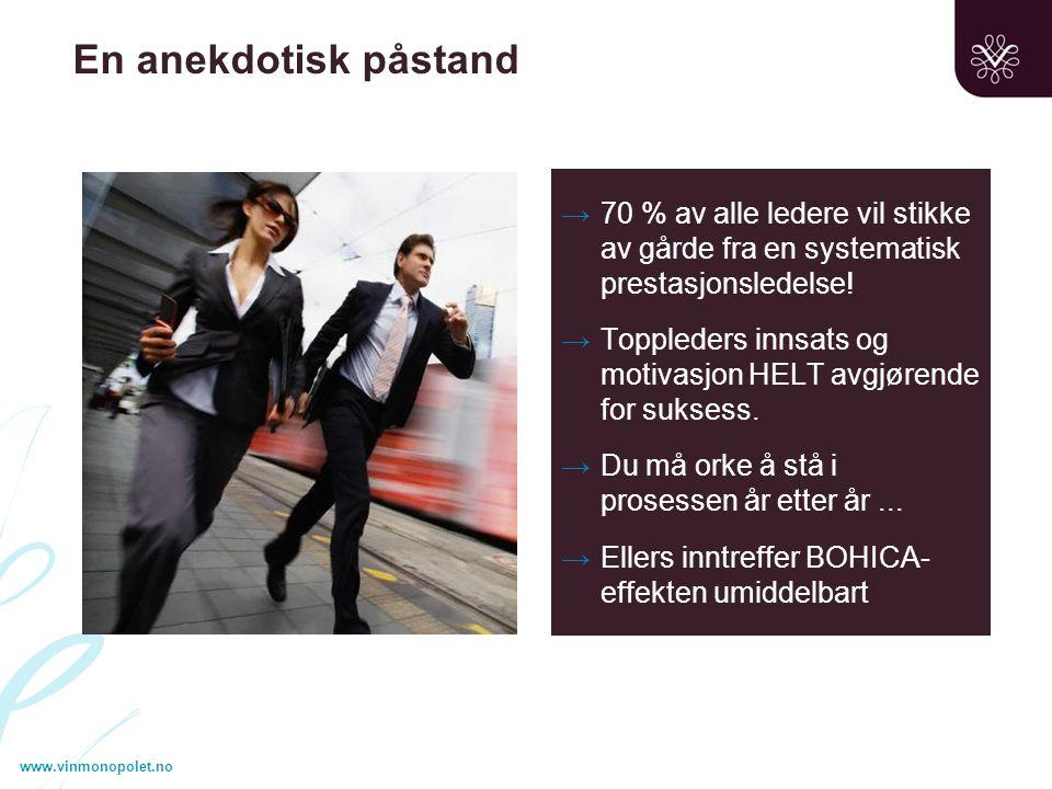 www.vinmonopolet.no En anekdotisk påstand →70 % av alle ledere vil stikke av gårde fra en systematisk prestasjonsledelse.
