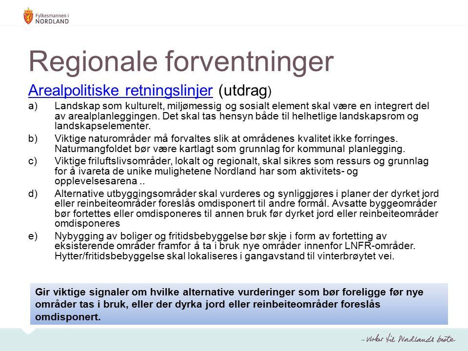 Regionale forventninger Arealpolitiske retningslinjerArealpolitiske retningslinjer (utdrag ) a)Landskap som kulturelt, miljømessig og sosialt element skal være en integrert del av arealplanleggingen.