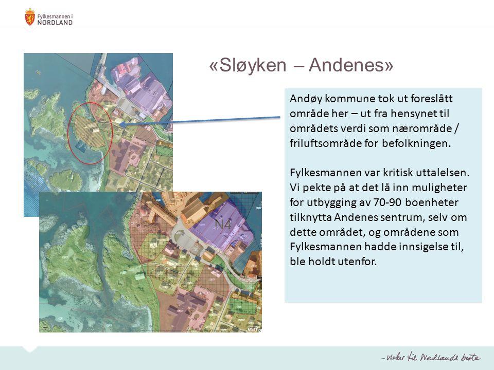 Andøy kommune tok ut foreslått område her – ut fra hensynet til områdets verdi som nærområde / friluftsområde for befolkningen.