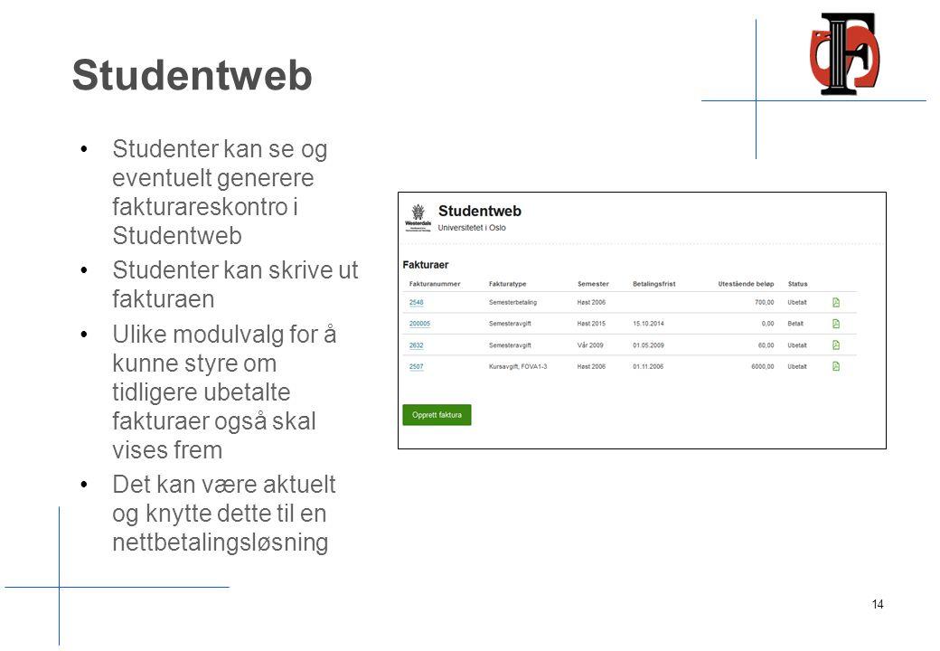 Studentweb Studenter kan se og eventuelt generere fakturareskontro i Studentweb Studenter kan skrive ut fakturaen Ulike modulvalg for å kunne styre om tidligere ubetalte fakturaer også skal vises frem Det kan være aktuelt og knytte dette til en nettbetalingsløsning 14