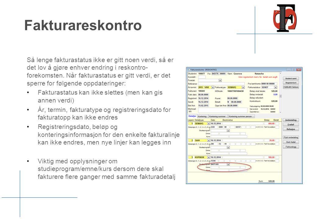 Hovedbokføring FS208.001 Overfører følgende data: Hovedboktransaksjon Kundeopplysninger (for de som har reskontro i økonomisystemer) 10