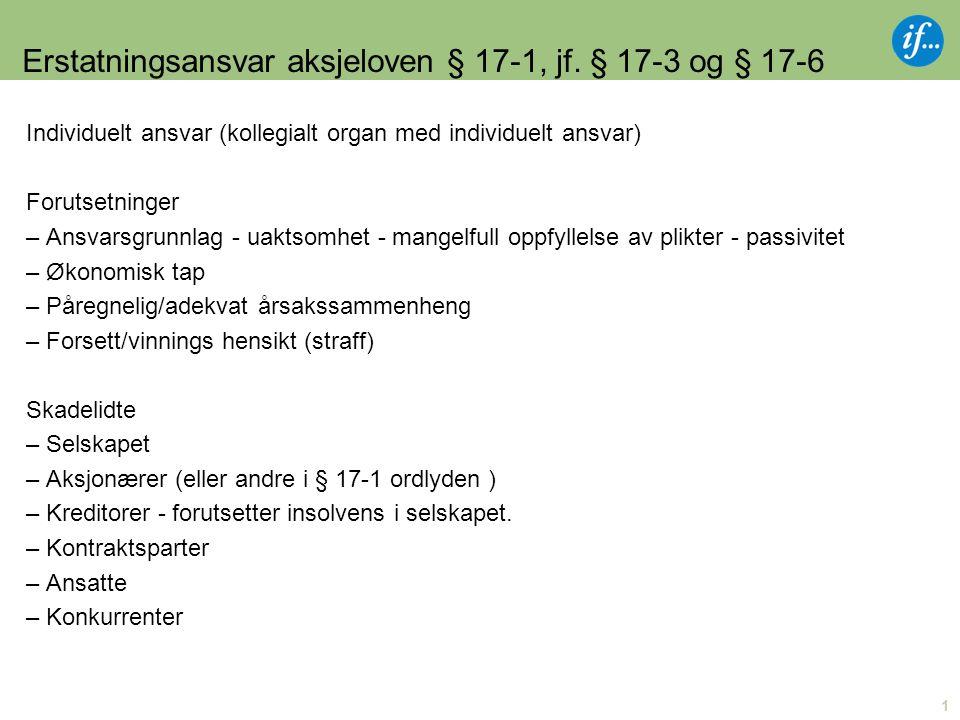 1 Erstatningsansvar aksjeloven § 17-1, jf.