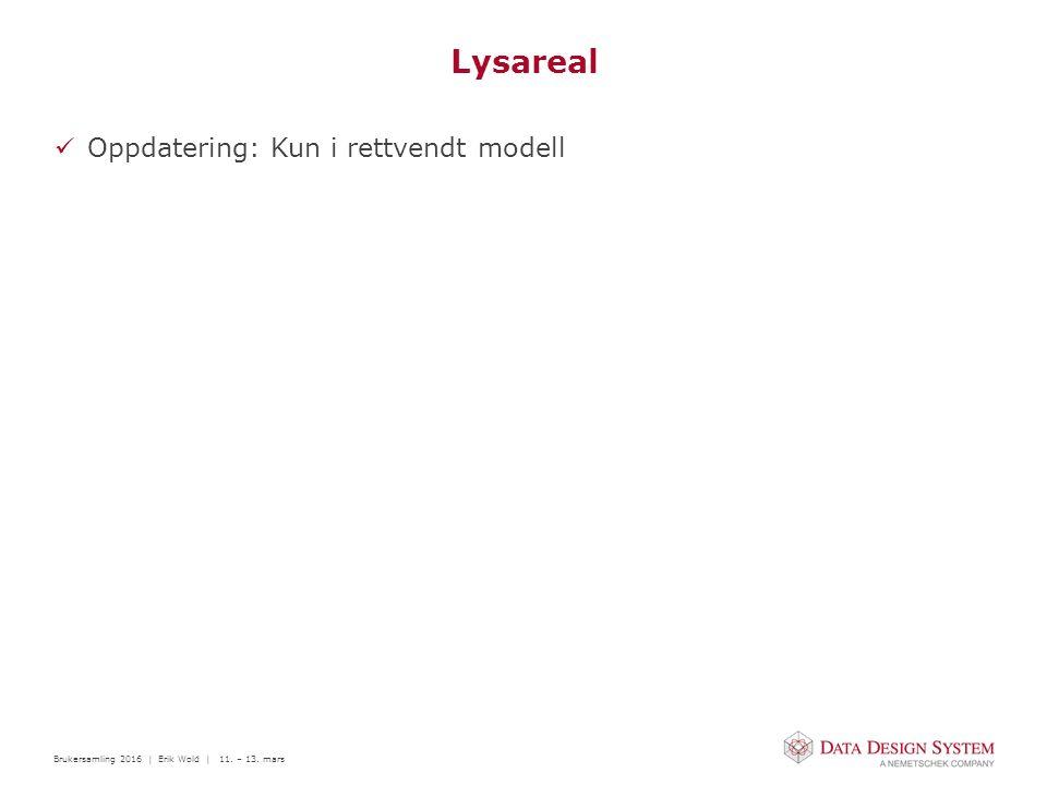 Brukersamling 2016 | Erik Wold | 11. – 13. mars Lysareal Oppdatering: Kun i rettvendt modell