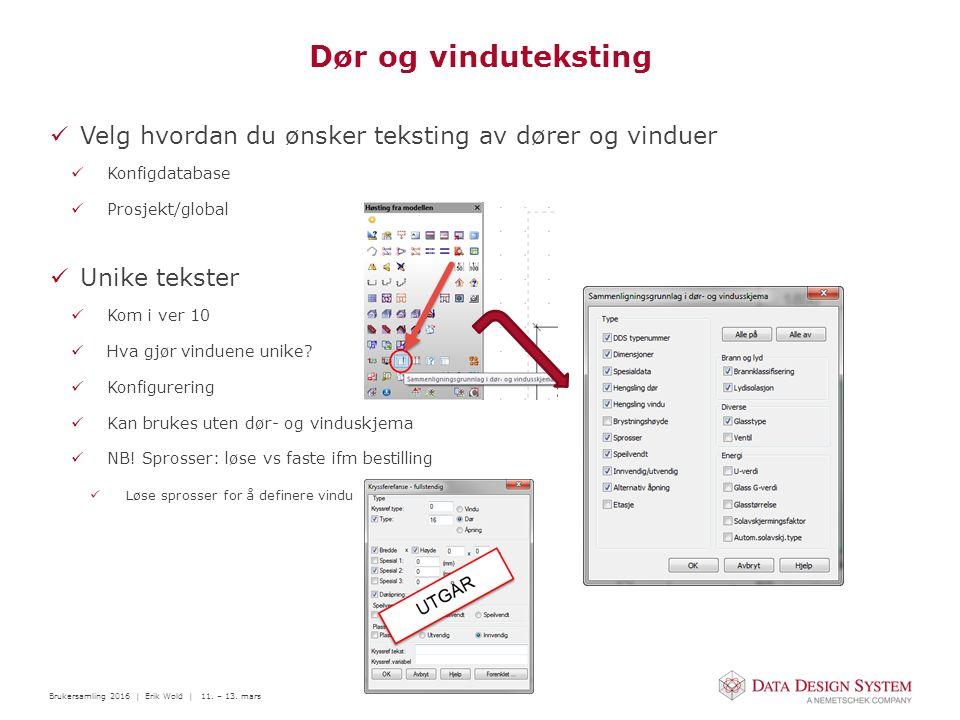 Brukersamling 2016 | Erik Wold | 11. – 13. mars Dør og vinduteksting Velg hvordan du ønsker teksting av dører og vinduer Konfigdatabase Prosjekt/globa