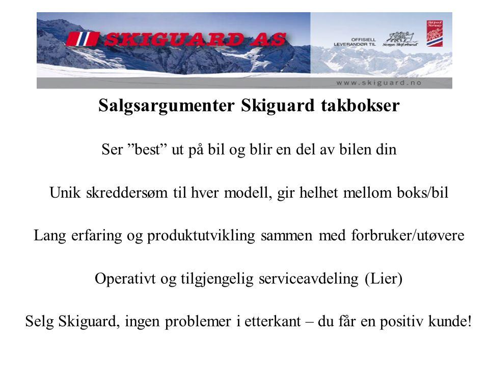 """Salgsargumenter Skiguard takbokser Ser """"best"""" ut på bil og blir en del av bilen din Unik skreddersøm til hver modell, gir helhet mellom boks/bil Lang"""