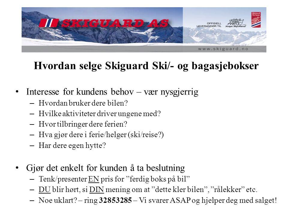 Hvordan selge Skiguard Ski/- og bagasjebokser Interesse for kundens behov – vær nysgjerrig – Hvordan bruker dere bilen? – Hvilke aktiviteter driver un