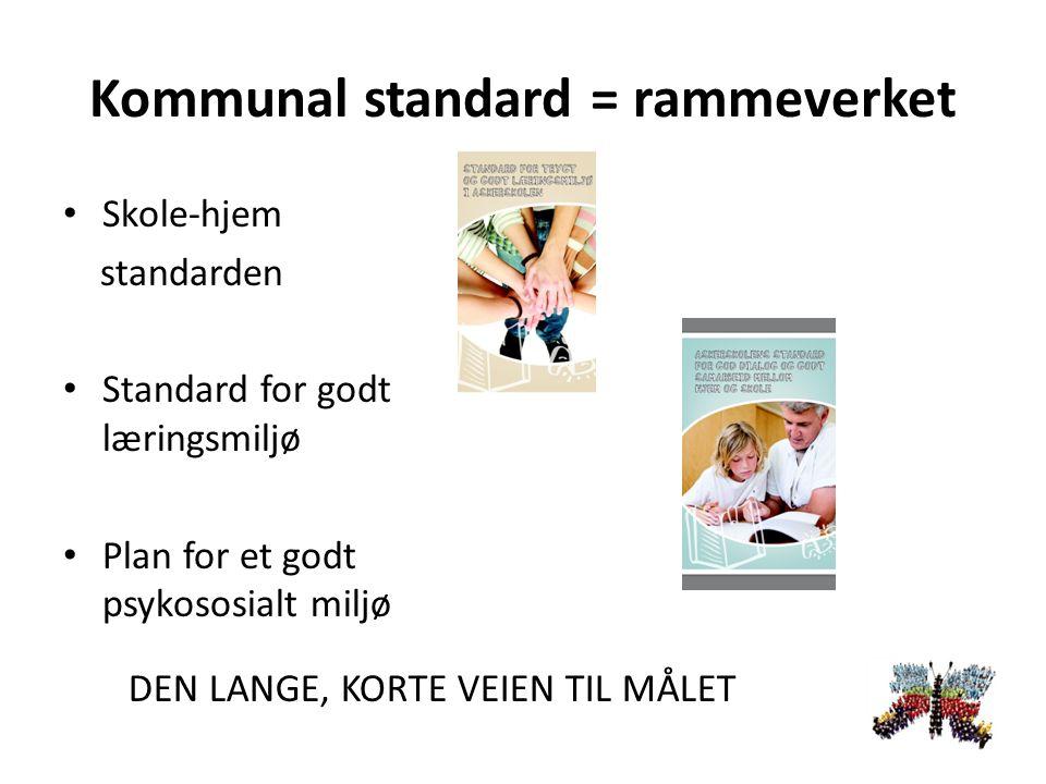 Kommunal standard = rammeverket Skole-hjem standarden Standard for godt læringsmiljø Plan for et godt psykososialt miljø DEN LANGE, KORTE VEIEN TIL MÅLET