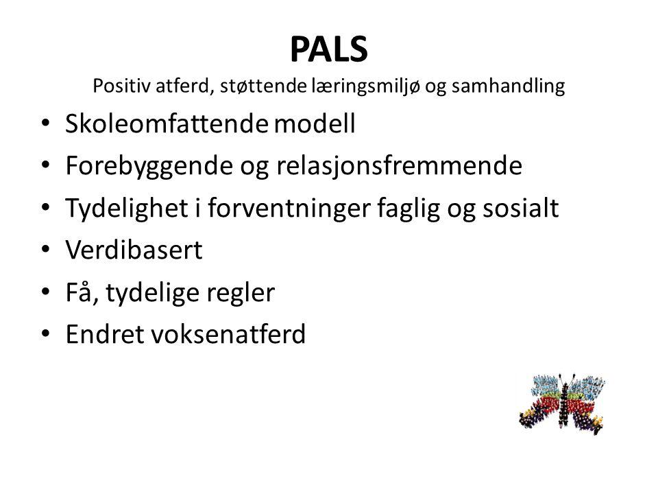 PALS Positiv atferd, støttende læringsmiljø og samhandling Skoleomfattende modell Forebyggende og relasjonsfremmende Tydelighet i forventninger faglig og sosialt Verdibasert Få, tydelige regler Endret voksenatferd