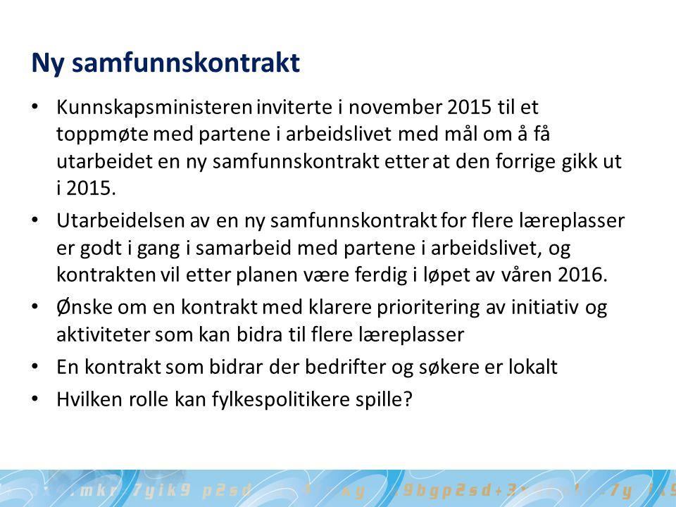 Ny samfunnskontrakt Kunnskapsministeren inviterte i november 2015 til et toppmøte med partene i arbeidslivet med mål om å få utarbeidet en ny samfunnskontrakt etter at den forrige gikk ut i 2015.