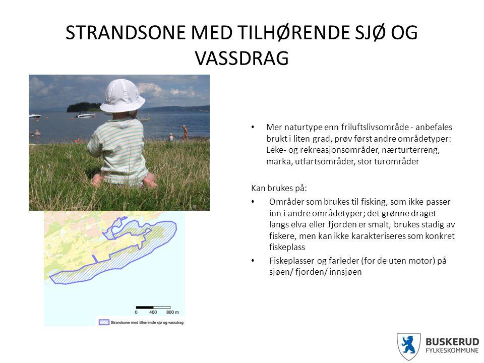 STRANDSONE MED TILHØRENDE SJØ OG VASSDRAG Mer naturtype enn friluftslivsområde - anbefales brukt i liten grad, prøv først andre områdetyper: Leke- og rekreasjonsområder, nærturterreng, marka, utfartsområder, stor turområder Kan brukes på: Områder som brukes til fisking, som ikke passer inn i andre områdetyper; det grønne draget langs elva eller fjorden er smalt, brukes stadig av fiskere, men kan ikke karakteriseres som konkret fiskeplass Fiskeplasser og farleder (for de uten motor) på sjøen/ fjorden/ innsjøen