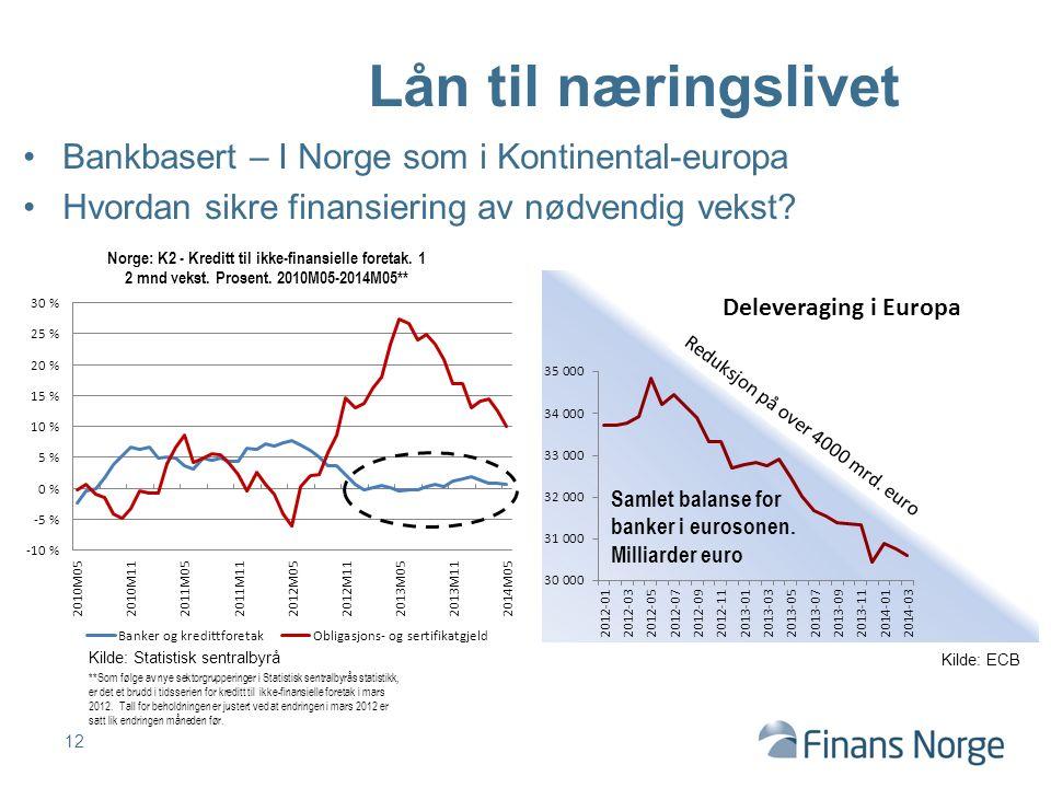 Reduksjon på over 4000 mrd. euro Bankbasert – I Norge som i Kontinental-europa Hvordan sikre finansiering av nødvendig vekst? 12 Lån til næringslivet