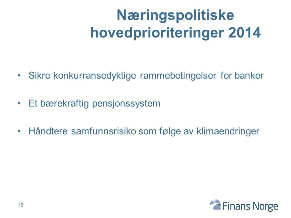 Sikre konkurransedyktige rammebetingelser for banker Et bærekraftig pensjonssystem Håndtere samfunnsrisiko som følge av klimaendringer 16 Næringspolitiske hovedprioriteringer 2014