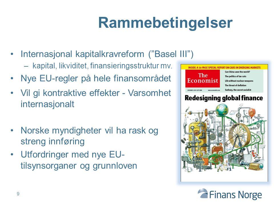 """Internasjonal kapitalkravreform (""""Basel III"""") –kapital, likviditet, finansieringsstruktur mv. Nye EU-regler på hele finansområdet 9 Rammebetingelser V"""