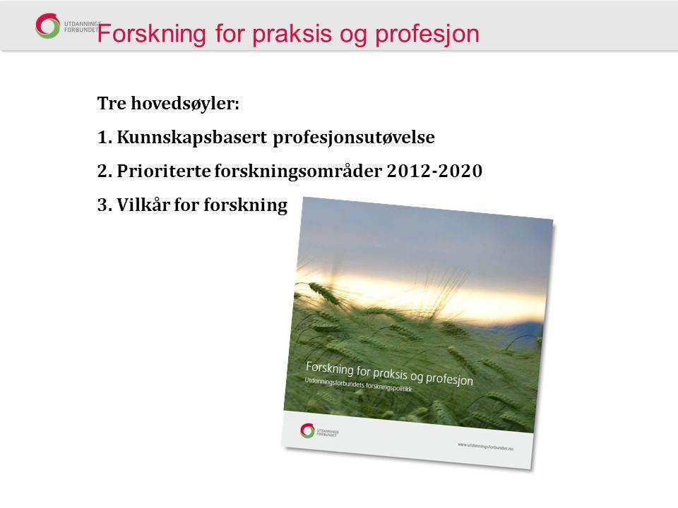 Forskning for praksis og profesjon Tre hovedsøyler: 1.