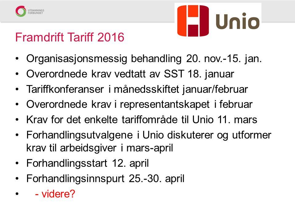 Framdrift Tariff 2016 Organisasjonsmessig behandling 20.