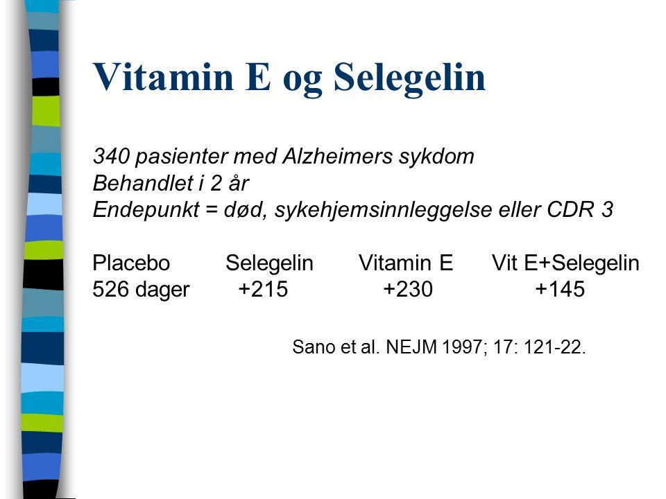 Vitamin E og Selegelin 340 pasienter med Alzheimers sykdom Behandlet i 2 år Endepunkt = død, sykehjemsinnleggelse eller CDR 3 PlaceboSelegelinVitamin EVit E+Selegelin 526 dager +215 +230 +145 Sano et al.