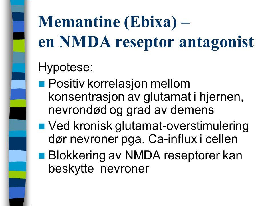 Memantine (Ebixa) – en NMDA reseptor antagonist Hypotese: Positiv korrelasjon mellom konsentrasjon av glutamat i hjernen, nevrondød og grad av demens Ved kronisk glutamat-overstimulering dør nevroner pga.