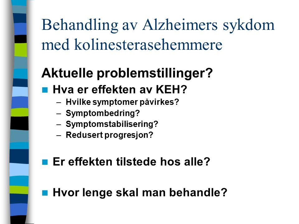 Behandling av Alzheimers sykdom med kolinesterasehemmere Aktuelle problemstillinger? Hva er effekten av KEH? –Hvilke symptomer påvirkes? –Symptombedri