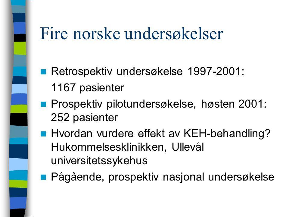Fire norske undersøkelser Retrospektiv undersøkelse 1997-2001: 1167 pasienter Prospektiv pilotundersøkelse, høsten 2001: 252 pasienter Hvordan vurdere effekt av KEH-behandling.